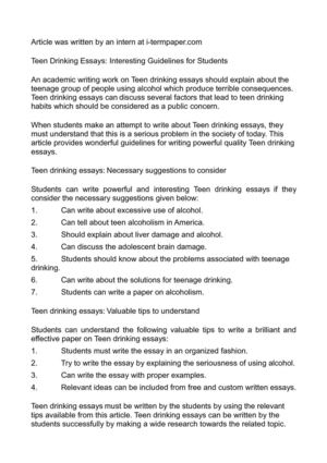 Calam O Teen Drinking Essays Interesting Guidelines For Students
