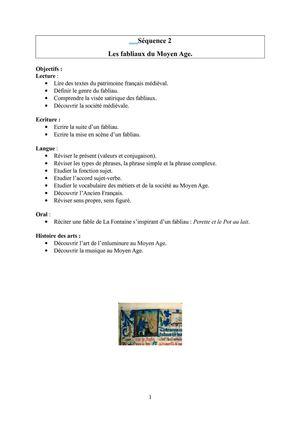 evaluation sur les fabliaux 5eme