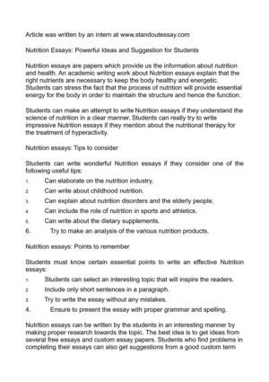 International Business Essays Nutrition Essays Powerful Ideas And Suggestion For Students Important Of English Language Essay also Essay Papers Online Calamo  Nutrition Essays Powerful Ideas And Suggestion For Students English Essay Book