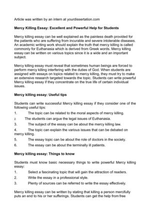 Benefits Of Writing Essays Mercy Killing Essay Excellent And Powerful Help For Students Toefl Essay Topic also Division And Analysis Essay Calamo  Mercy Killing Essay Excellent And Powerful Help For Students Critique Essay Example