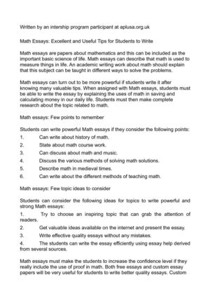 Math Essays  Underfontanacountryinncom Essay On Math Math Essay Math Essay A Website To Do My Math Homework  High School Essay Example also Essay Proposal Format  Science Topics For Essays