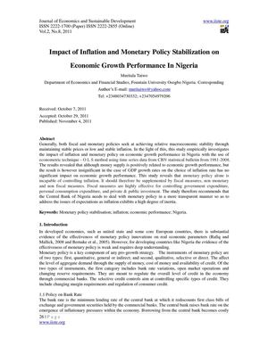 inflation and even financial emergence essay