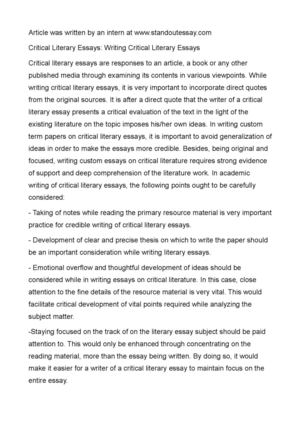 Sample English Essays  English Essay Questions also Essay On Newspaper In Hindi Calamo  Critical Literary Essays Writing Critical  Sample Essays For High School Students