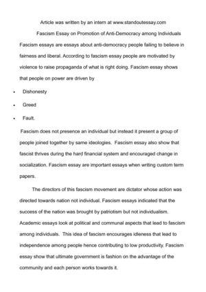 Calamo  Fascism Essay On Promotion Of Antidemocracy Among Individuals Fascism Essay On Promotion Of Antidemocracy Among Individuals