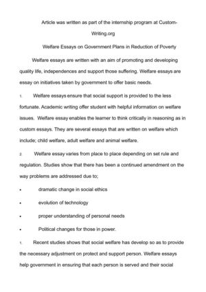 Child welfare essays
