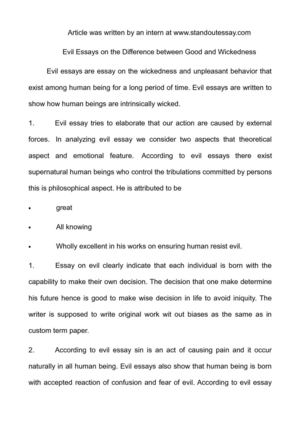 Calamo  Evil Essays On The Difference Between Good And Wickedness Evil Essays On The Difference Between Good And Wickedness What Is The Thesis In An Essay also Examples Of Thesis Statements For Argumentative Essays  Synthesis Essay Tips