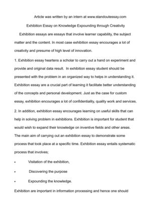 Best English Essay Exhibition Essay On Knowledge Expounding Through Creativity Reflective Essay Thesis also Argumentative Essay Examples For High School Calamo  Exhibition Essay On Knowledge Expounding Through Creativity Persuasive Essay Examples For High School