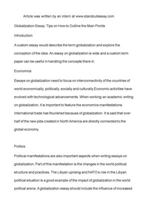Essays About English Language Globalization Essay Tips On How To Outline The Main Points Introduction High School Essay Topics also Essay Vs Paper Calamo  Globalization Essay Tips On How To Outline The Main  Business Law Essays