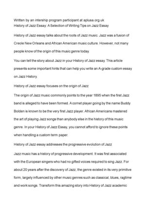 History of jazz essay