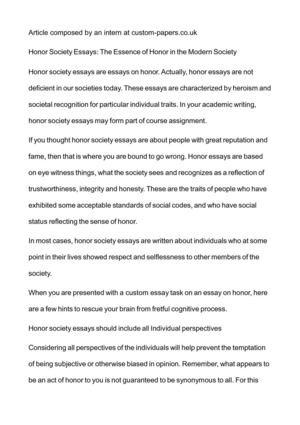 Apa Format Essay Paper Honor Society Essays The Essence Of Honor In The Modern Society Poverty Essay Thesis also How To Write A Thesis Paragraph For An Essay Calamo  Honor Society Essays The Essence Of Honor In The Modern  Examples Of Proposal Essays