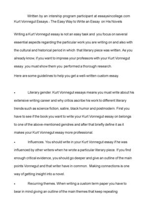 Example Of Proposal Essay Kurt Vonnegut Essays  The Easy Way To Write An Essay On His Novels Example Proposal Essay also Assignment For Sale Calamo  Kurt Vonnegut Essays  The Easy Way To Write An Essay On  Buying College Reports
