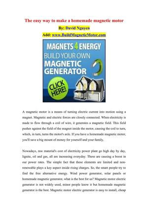 Calaméo - The easy way to make a homemade magnetic motor