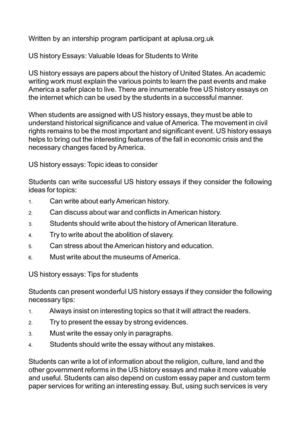 Calaméo - US history Essays: Valuable Ideas for Students to Write