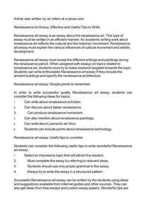 Calamo  Renaissance Art Essay Effective And Useful Tips To Write Renaissance Art Essay Effective And Useful Tips To Write Research Paper Essays also Essays On High School  Essay Sample For High School