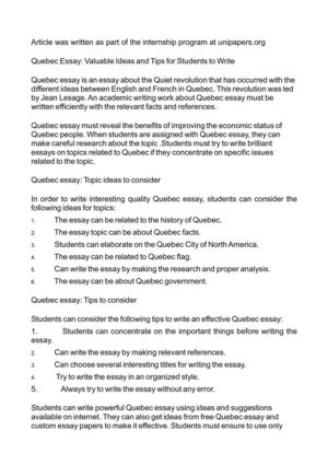 Topics For Essays In English Quebec Essay Valuable Ideas And Tips For Students To Write Examples Of A Proposal Essay also Essay On Science And Society Calamo  Quebec Essay Valuable Ideas And Tips For Students To Write English Composition Essay Examples