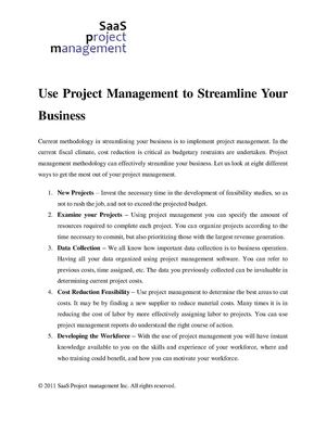 Use Project Management to Streamline Your Business
