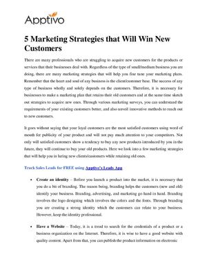 5 Marketing Strategies that Will Win New Customers