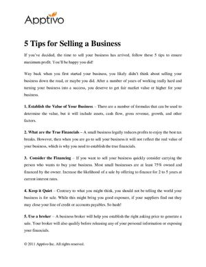 5 Tips for Selling a Business