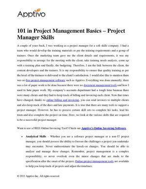101 in Project Management Basics