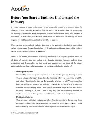 Before You Start a Business Understand the Industry