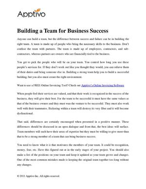 Building a Team for Business Success