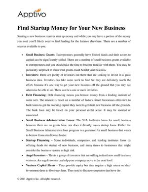 Find Startup Money for Your New Business
