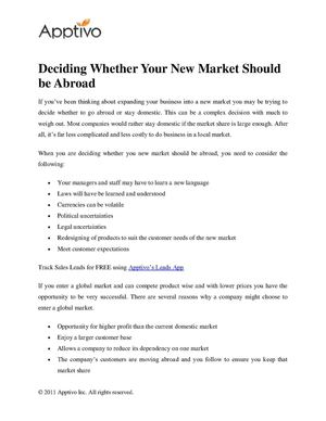 Deciding Whether Your New Market Should be Abroad