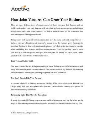 How Joint Ventures Can Grow Your Business
