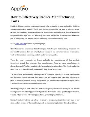 How to Effectively Reduce Manufacturing Costs