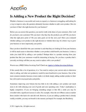 Is Adding a New Product the Right Decision