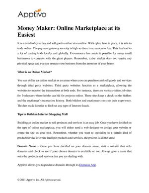 Money Maker Online Marketplace at its Easiest