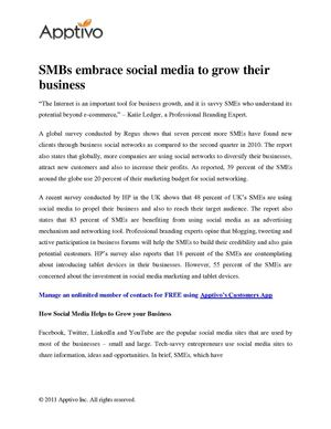 SMBs embrace social media to grow their business