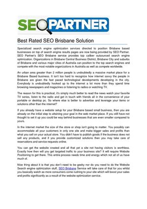 Best Rated SEO Brisbane Solution