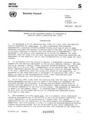 Report of the SG, 6 August 1993