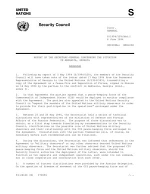Report of the SG, 6 June 1994