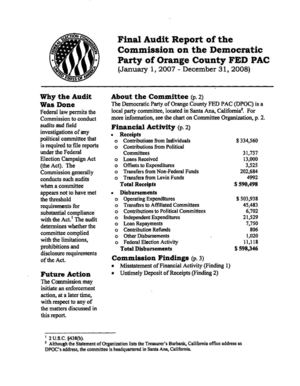 Copy of Final Audit Report of the  Commission on the Democratic  Party of Orange County FBD PAC