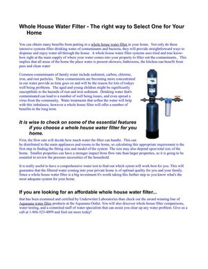 Whole House Water Filter - The right way to Select One for Your Home