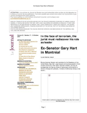 """In the Face of Terrorism, the Jurist Must Rediscover his Role as Leader"" - Ex-Senator Gary Hart in Montréal (Journal du Barreau, Volume 33 - Number 17-15 October 2001) Quebec Bar Association [ENGLISH TRANSLATION]"