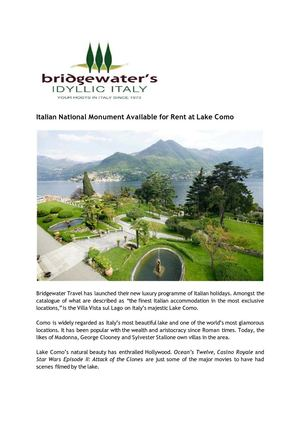 Italian National Monument Available for Rent at Lake Como