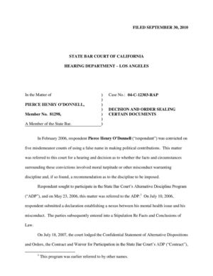 Pierce O'Donnell State Bar of California Court Decision