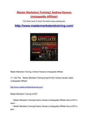Master marketers training