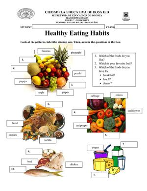 Worksheet healthy food