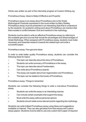 Prometheus Essay: Ideas to Make It Effective and Powerful