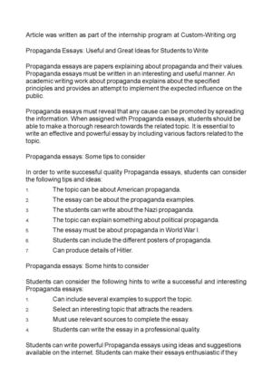 Propaganda Essays: Useful and Great Ideas for Students to Write