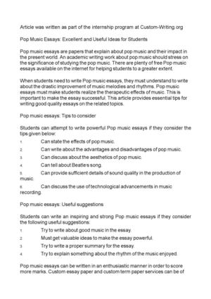 Pop Music Essays: Excellent and Useful Ideas for Students