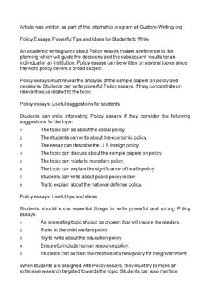 Policy Essays: Powerful Tips and Ideas for Students to Write