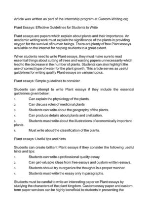 Essay Tutoring Plant Essays Effective Guidelines For Students To Write Thesis For Compare Contrast Essay also Epistolary Essay Calamo  Plant Essays Effective Guidelines For Students To Write Thesis For Argumentative Essay Examples