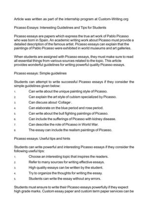 Analysis And Synthesis Essay Picasso Essays Interesting Guidelines And Tips For Students English Essay Writing Help also History Of English Essay Calamo  Picasso Essays Interesting Guidelines And Tips For Students Essay On How To Start A Business
