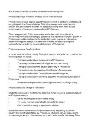 Philippine Essays: Powerful Ideas to Make Them Effective