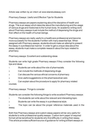 How To Write An Essay For High School Pharmacy Essays Useful And Effective Tips For Students Science Essay Questions also Protein Synthesis Essay Calamo  Pharmacy Essays Useful And Effective Tips For Students Yellow Wallpaper Analysis Essay